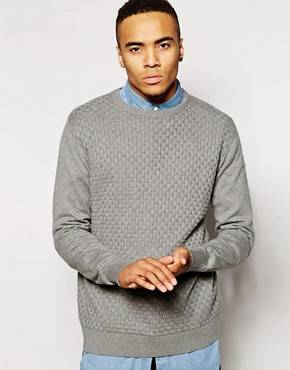 Jack & Jones - Pull en tricot point de damier - Gris chiné