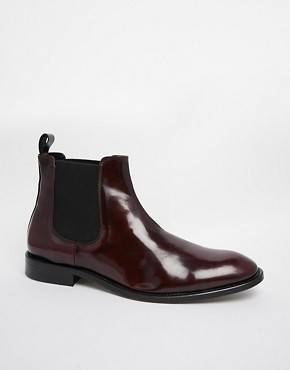 Selected Homme - Bottines chelsea ultra brillantes - Rouge