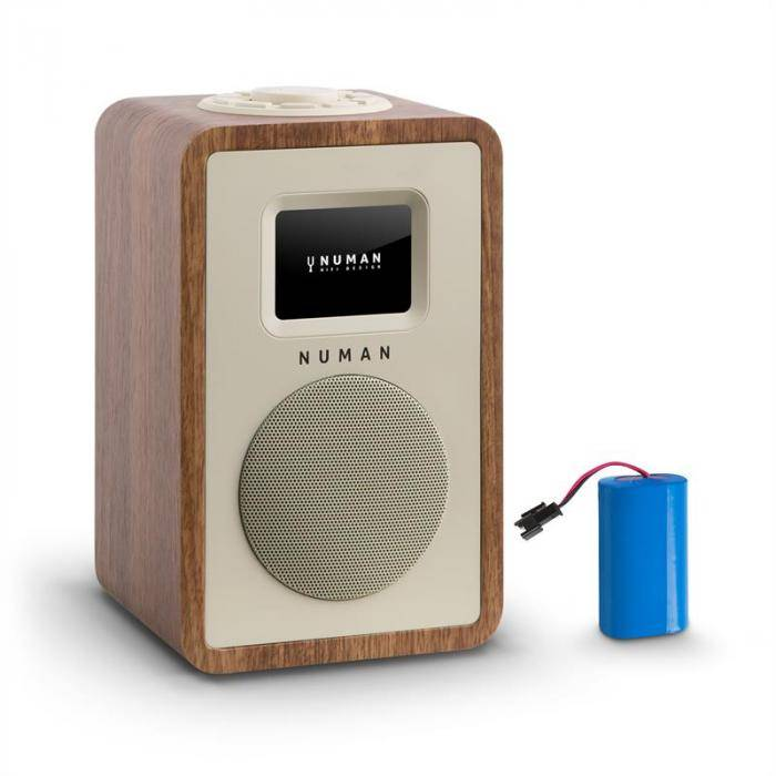 Numan Mini One Design Radio numérique Bluetooth DAB+ FM AUX batterie noyer