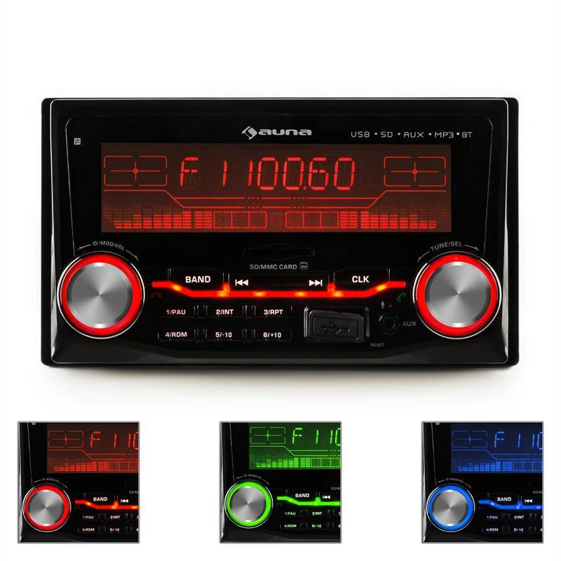 Auna MD-830 Autoradio USB SD MP3 Bluetooth 3 couleurs