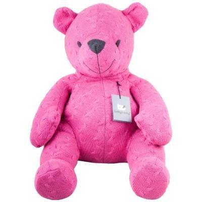 baby's only OURSON TRICOTÉ 55CM, COLLECTION CABLE - BABY'S ONLY BABY'S ONLY FUCHSIA