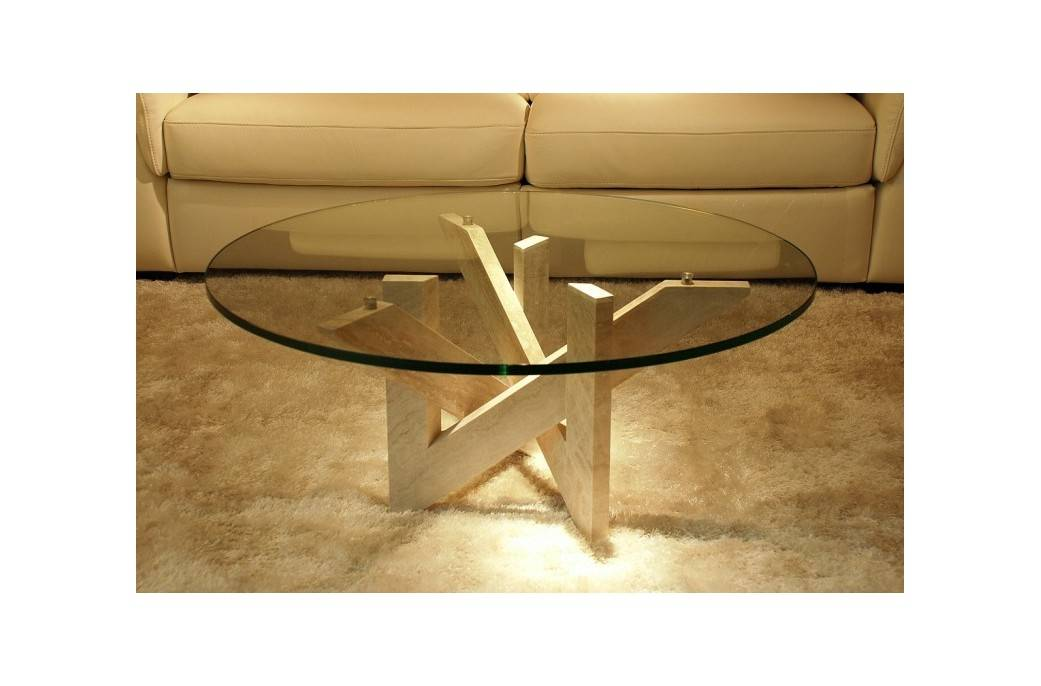 Living ROC Table basse ronde en Travertin Persan - ARABESQUE