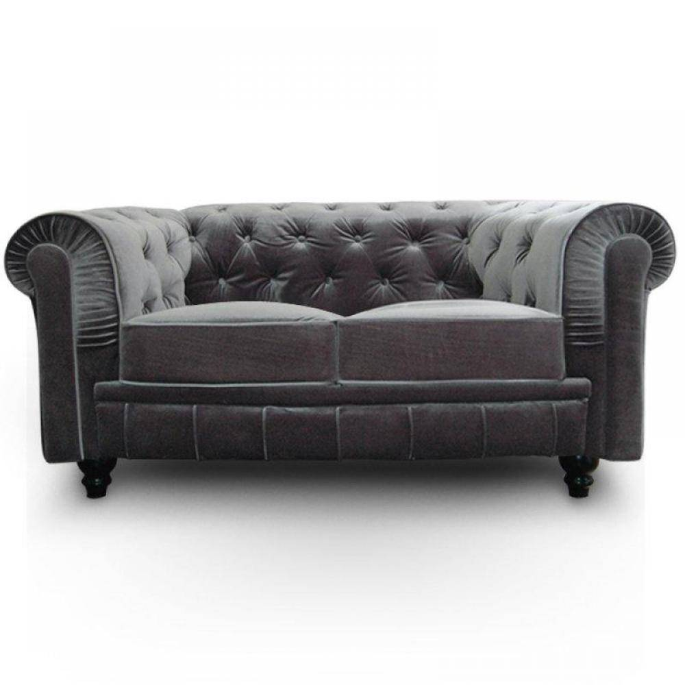 INSIDE Canapé CHESTERFIELD ROYAL 2 places Velours Gris
