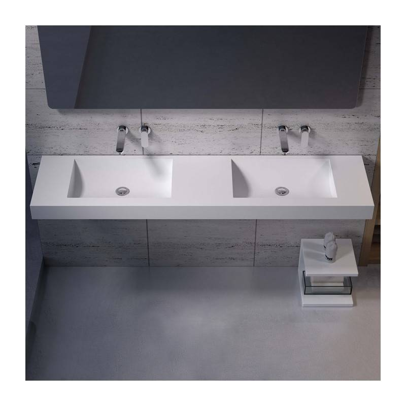 Distribain Double plan vasque solid surface Réf : SDPW28