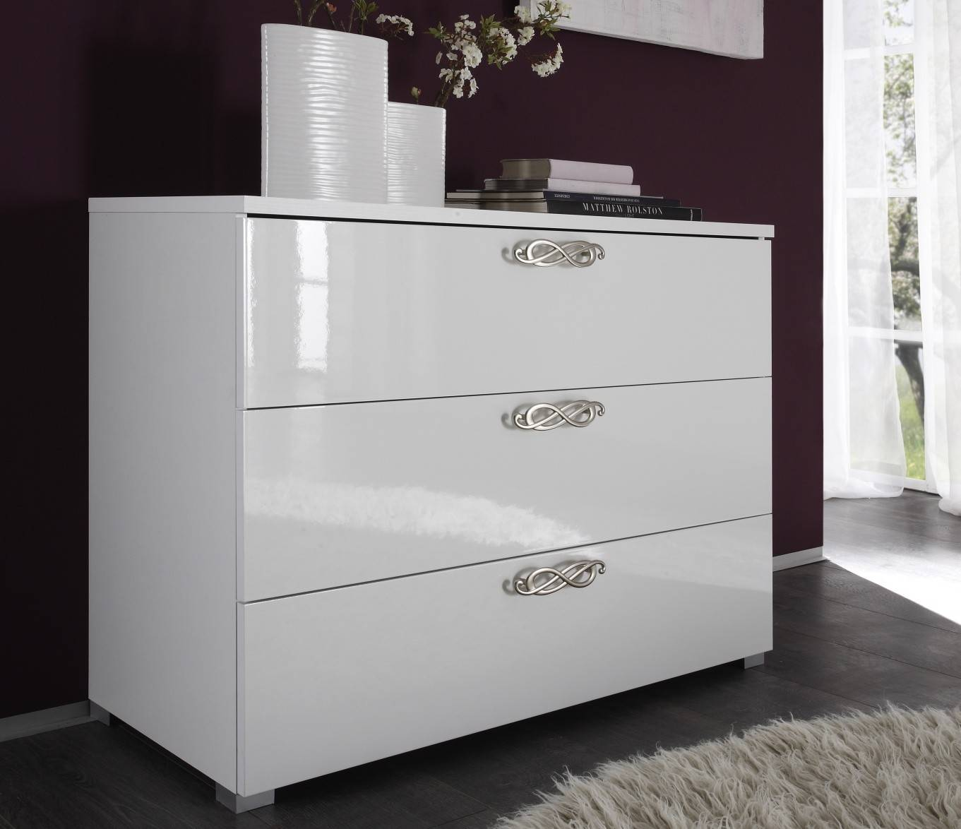 - Commode laquée blanche 3 tiroirs baroque - Lola