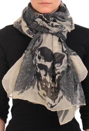 LissKiss Beige With Black Skull & Raven Wings Unisex Scarf & Beach Sarong - Beige Écharpe Taille Unique - 165cm x 110cm