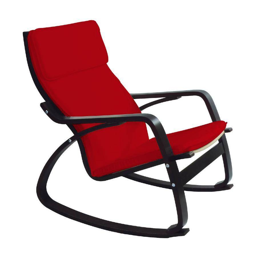 Miliboo 31472 - Rocking chair design wengé rouge WILLY