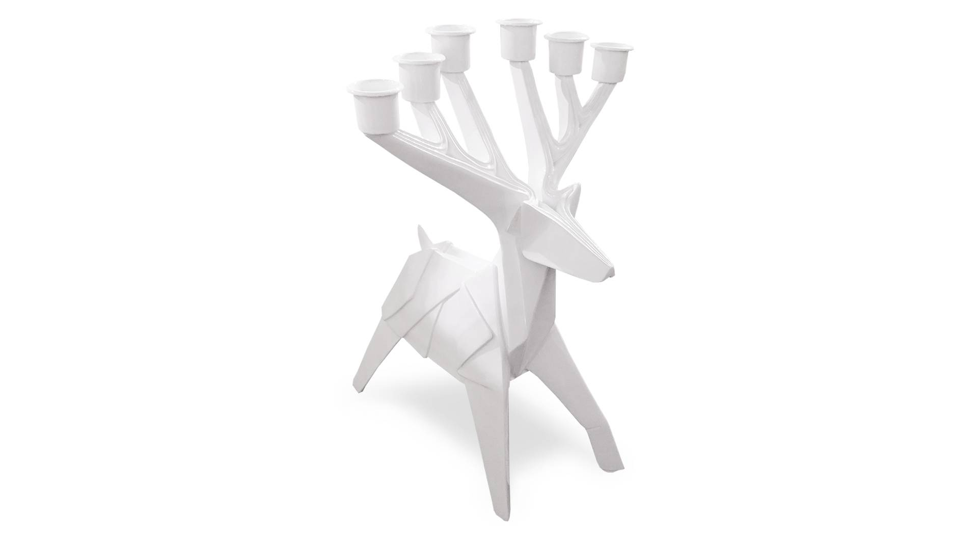 MobilierMoss Chandelier 6 branches style origami laqué blanc - Cerfy 5