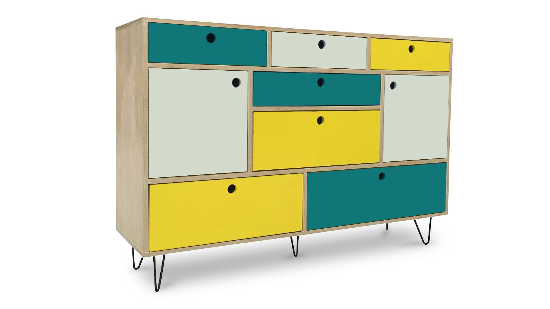 MobilierMoss Buffet multicolore pieds épingle style scandinave - Jalapa
