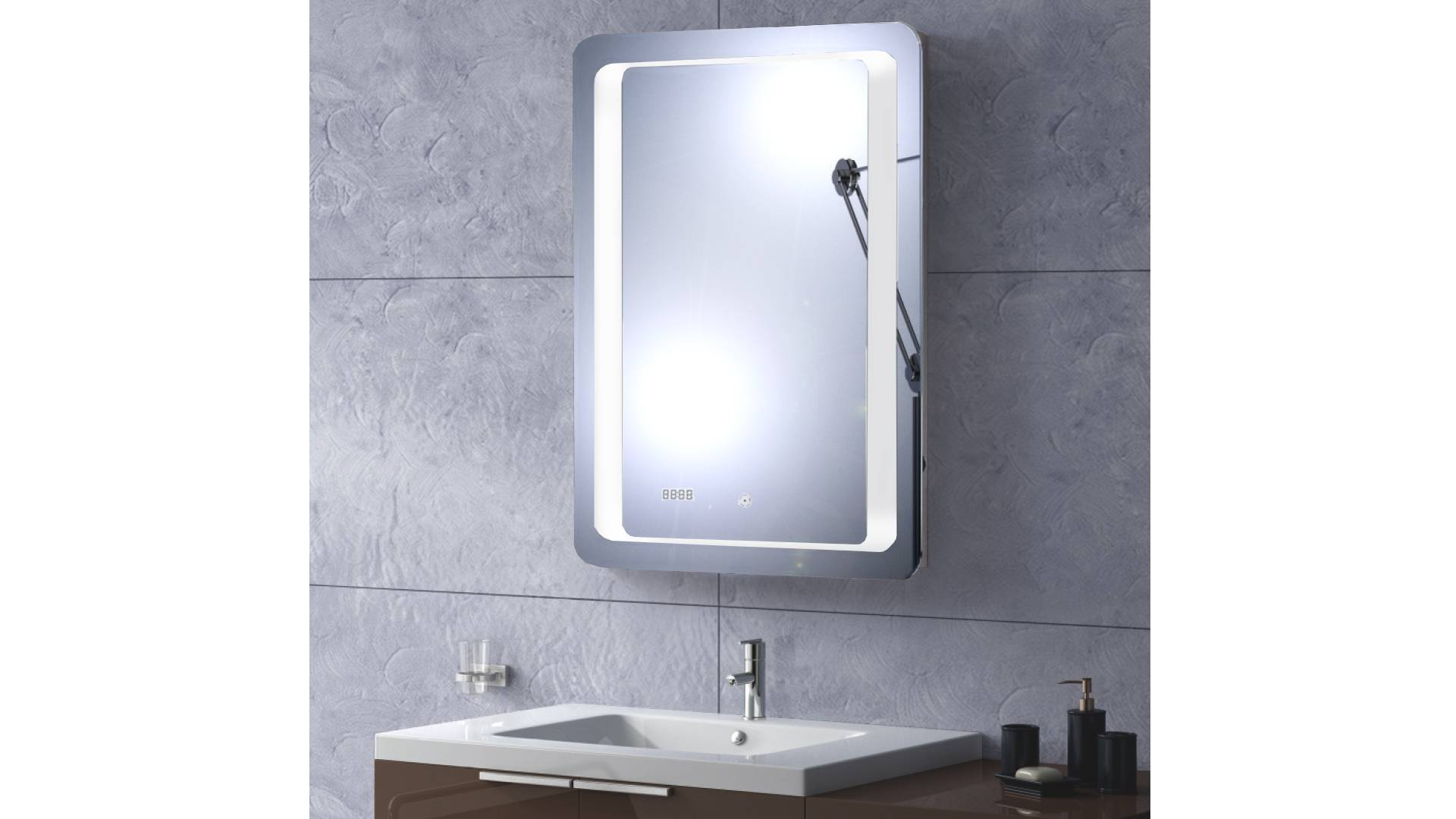 MobilierMoss Miroir design à LED et horloge - Tablet