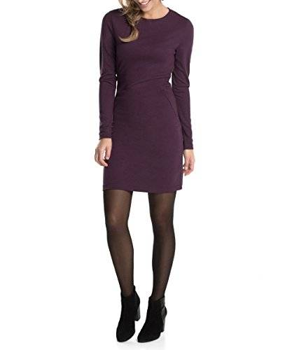 edc by ESPRIT Stretchig - Robe - Moulante - uni - Manches longues - Femme - Violet (Mulberry Burst 519) - FR: 38 (Taille fabricant: S)