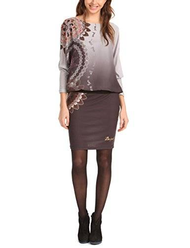 Desigual Maica - Robe - Manches longues - Femme - Marron (6004) - FR: 40 (Taille fabricant: 40)