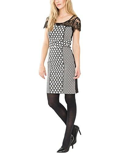Comma - Robe - Manches courtes Femme - Multicolore - Mehrfarbig (white AOP 03A9) - 40