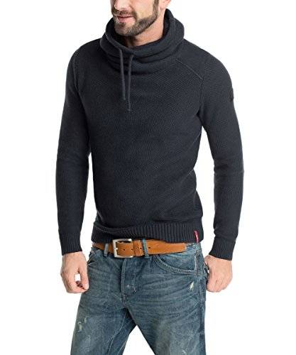 edc by ESPRIT Mit Schalkragen - Slim Fit - Pull - Col châle - Manches longues - Homme - Bleu (Midnight Blue 409) - Large (Taille fabricant: L)