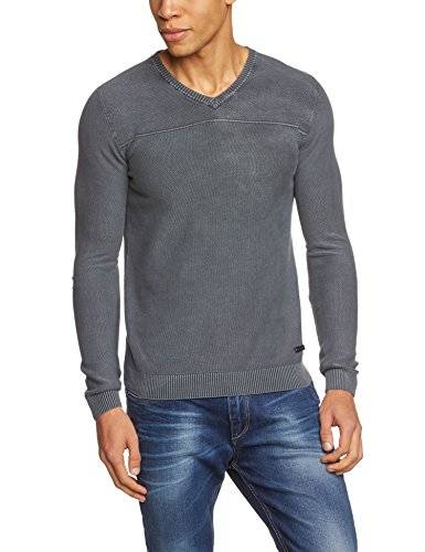 Tom Tailor Washed Structured /411 - Pull - uni - Manches longues - Homme - Gris (tarmac grey 2983) - Large (Taille fabricant: L)
