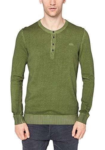 S.Oliver 08.411.61.5360 - Pull - uni - Col ras du cou - Manches longues - Homme - Vert (green 7783) - Medium (Taille fabricant: M)
