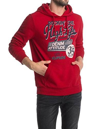edc by ESPRIT 084Cc2J012 - Sweat-shirt à capuche - uni - Manches longues - Homme - Rouge - Small (Taille fabricant: Small)