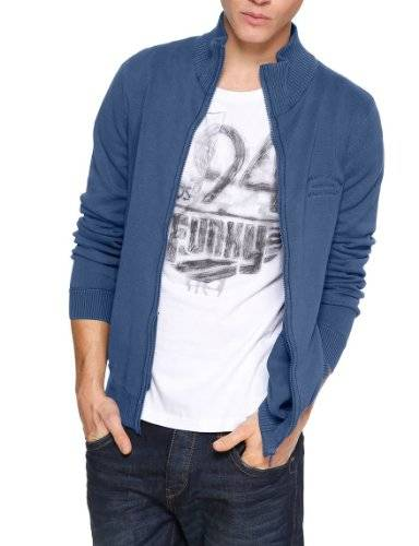 QS by s.Oliver Cardigan Col mao Manches longues Homme - Bleu - Blau (5724) - FR : X-Large (Taille Fabricant : 52/54)