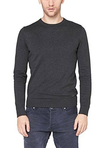 Qs By S.Oliver 40.411.61.4474 - Pull - Col ras du cou - Manches longues - Homme - Gris (Black Melange 9898) - Small (Taille fabricant: S)