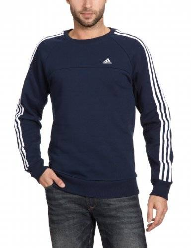 adidas Essentials 3 Stripes Crew Sweat-shirt Homme Collegiate Navy FR : S (Taille Fabricant : S)