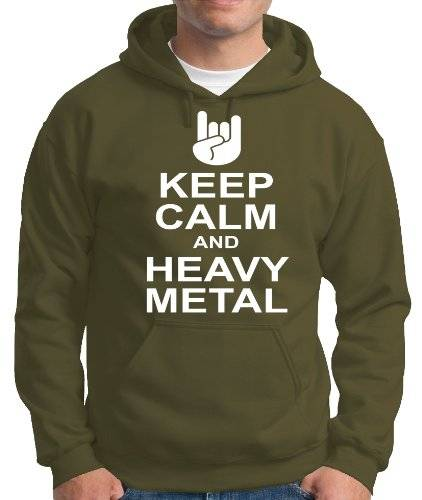 Touchlines Pull à capuche pour homme Keep Calm and Heavy Metal Vert kaki X-Large