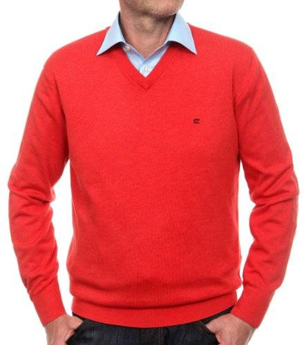 CASAMODA Pull-over Col V Manches longues Homme - Rouge - Rot (432 koralle) - FR : X-Large (Taille fabricant : 54 )