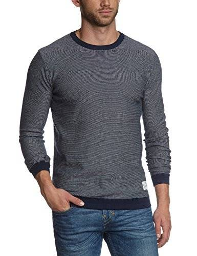 JACK & JONES - Pull Homme - SHARP KNIT CREWNECK NOOS - Multicolore (Dress Blues Stripes:LILY WHITE 19-4024 TCX - 2) - FR : Large (Taille fabricant : Large)