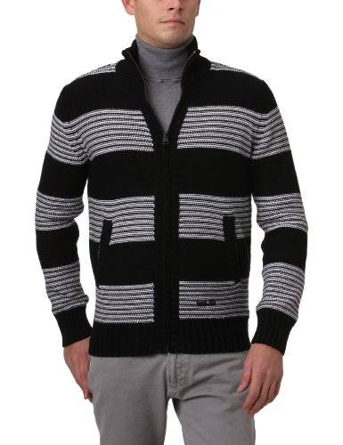 O'Neill Lm Shred Pullover Pull Col Cheminée Grosse Maille Homme Noir Rayé S
