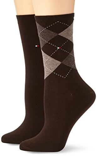 Tommy Hilfiger - Chaussettes Femme TH WOMEN CHECK SOCK 2P - Marron (kensington brown 937) - FR : 39-42 (Taille fabricant : 39/42)