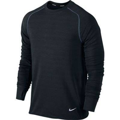 Nike Dri-fit Sprint Crew Maillot Homme Black/Black/Reflective Silver FR : L (Taille Fabricant : L)