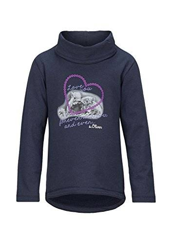 S.Oliver 57.410.41.7675 - Sweat-shirt - uni - Fille - Bleu (dark blue 5884) - FR: 4 ans (Taille fabricant: 104/110)