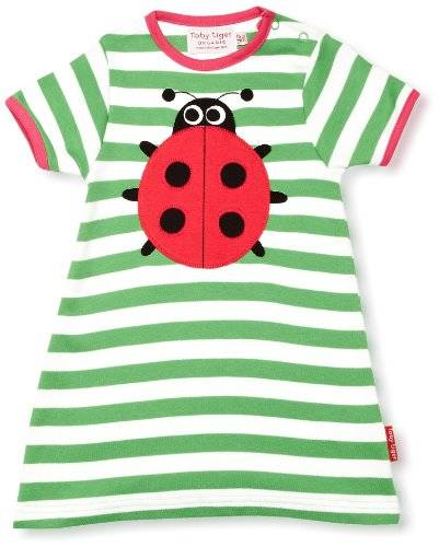 Toby Tiger - Robe - Col ras du cou - Manches courtes - Fille - Vert - FR: 5 ans (Taille fabricant: 5-6 Years)