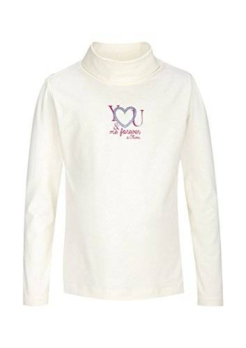 S.Oliver 53.410.31.5566 - T-shirt à manches longues - uni - Fille - Ecru (white wool 0600) - FR: 4 ans (Taille fabricant: 104/110)