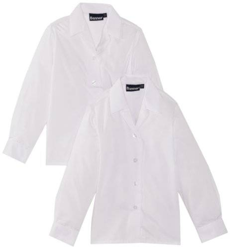 Blue Max Banner School - Chemisier - Col à boutons - Fille - Blanc - FR: 11 ans (Taille fabricant: 32)
