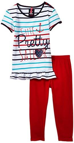Lina Pink Navy Pco - Ensemble de pyjama - Fille - Blanc (Rayé/Rouge) - FR: 8 ans (Taille fabricant: 8 ans)