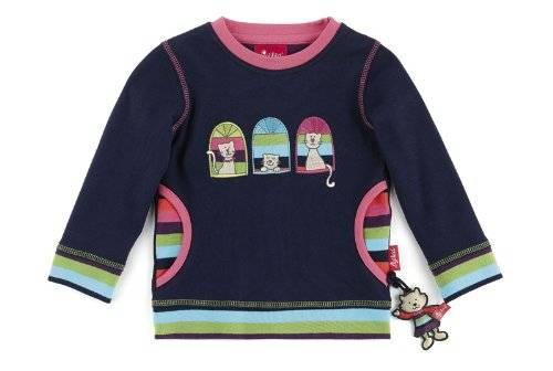 Sigikid - T-shirt à manches longues - Fille - Bleu (Peacoat) - FR: 8 ans (Taille fabricant: 128)