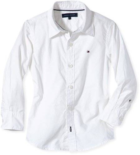 Tommy Hilfiger Blouse Col boutonné Manches longues Fille - Blanc - Weiß (100 CLASSIC WHITE) - FR : 7 ans (Taille fabricant : 122)