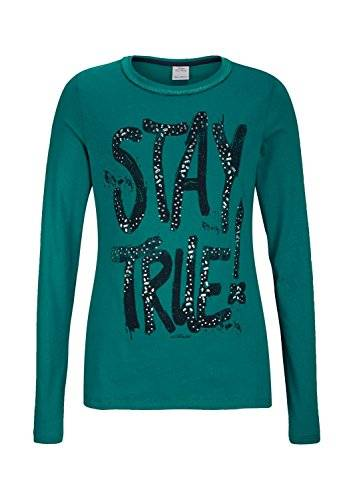 S.Oliver 66.410.31.5603 - T-shirt à manches longues - uni - Fille - Vert (green 6696) - FR: 10 ans (Taille fabricant: S)