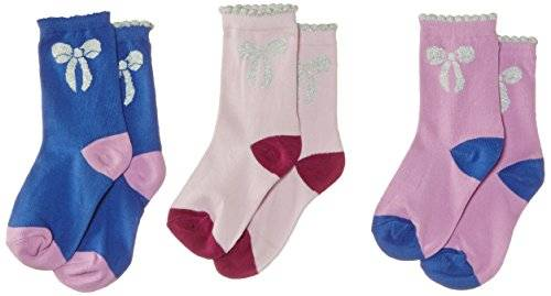Pumpkin Patch 3Pk Lurex Bow - Chaussettes - Fille - Violet (Sweet Lilac) - FR: 8 ans (Taiile fabricant: 8 ans)