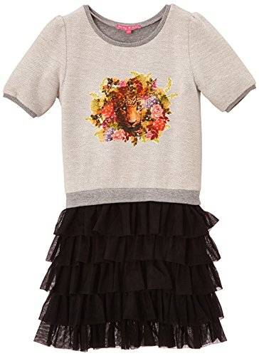 Derhy Maya - Robe - Uni - Manches courtes - Fille - Gris - FR: 6 ans (Taille fabricant: 6/8 ans)