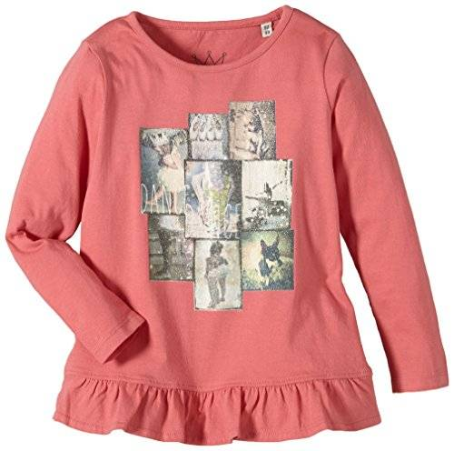 Tom Tailor Kids Cute - T- shirt à manches longues - uni - Fille - Rose (Sweet Apricot Rose 5469) - FR: 9 ans (Taille fabricant: 128/134)