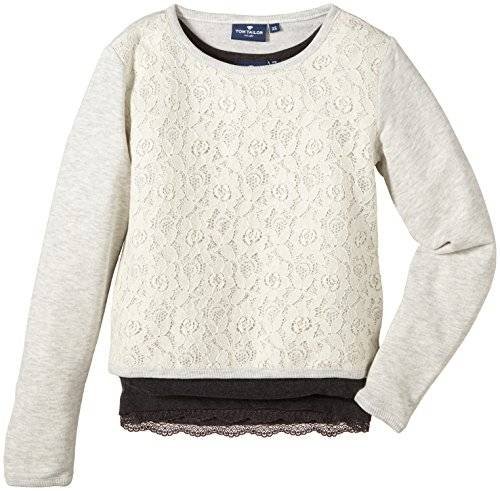 Tom Tailor Kids 2 Pack With Lace/411 - Sweat-shirt - uni - Fille - Beige (hot sand melange 8440) - FR: 8 ans (Taille fabricant: 128)