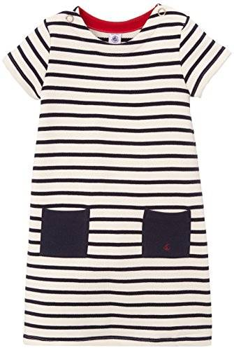 Petit Bateau - Robe - À rayures - Fille - Multicolore (Coquille/Abysse) - FR: 6 ans (Taille fabricant: 6 ans)