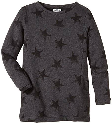 Tom Tailor Kids Long With Stars/410 - Sweat-shirt - uni - Fille - Gris (dark stone melange 2638) - FR: 16 ans (Taille fabricant: 176)
