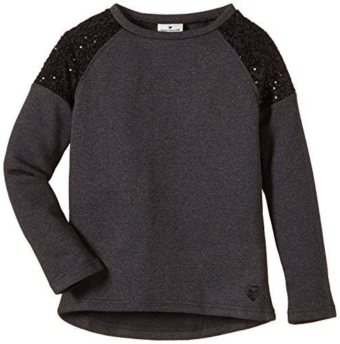 Tom Tailor Kids With Sequinces/410 - Sweat-shirt - uni - Fille - Gris (dark stone melange 2638) - FR: 14 ans (Taille fabricant: 164)