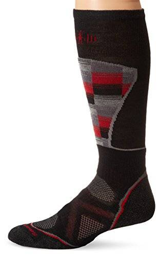 Smartwool PhD Medium Pattern Chaussettes Homme Noir/Rouge FR : L (Taille Fabricant : L)
