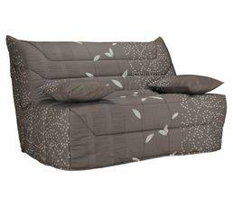 BUT Banquette-lit BZ CALIFORNIA Tissu Feuilles Taupe A301