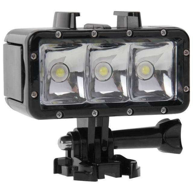 Maxy $$puluz Torcia Flash 3 Led Impermeabile Universale Per Gopro Hd Hero - Nylox - Action Cam Black