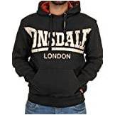 Lonsdale London Whitechapel Felpa da uomo con cappuccio, Nero, S (UK)