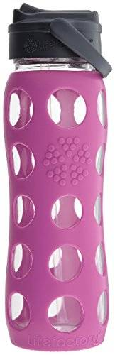 Lifefactory  – Borraccia in vetro, Glas-Trinkflasche mit Straw Cap, huckleberry, 650 ml